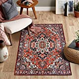 Misiffa Vintage Oriental Medallion Area Rug, Non-Slip Washable Low-Pile Indoor Accent Throw Rug, Floor Carpet for Kitchen Mat Bedroom Living Room Entryway Dorm Home Decor (Red, 3x5ft)