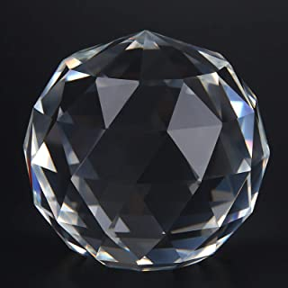 Clear Cut Crystal Sphere 60/80mm Faceted Gazing Ball Prisms Suncatcher Decor coi(60MM/2.36in)