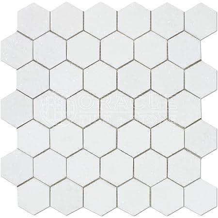 Thassos White Greek Marble 2 Inch Hexagon Mosaic Tile Honed