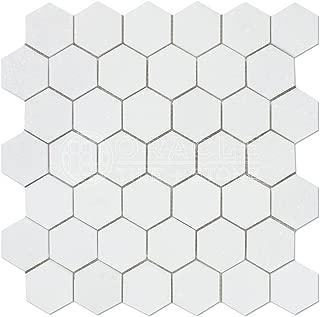 Thassos White Greek Marble 2 inch Hexagon Mosaic Tile, Honed
