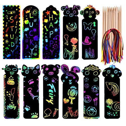 FEPITO 110 Set Animal Scratch Art Bookmarks, Paper Scratch Art for Kids, Scratch Rainbow Bookmarks DIY Crafts Paper Graduation Gift Tags with 20Pcs Wooden Stylus for Birthday Gifts Party Supplies