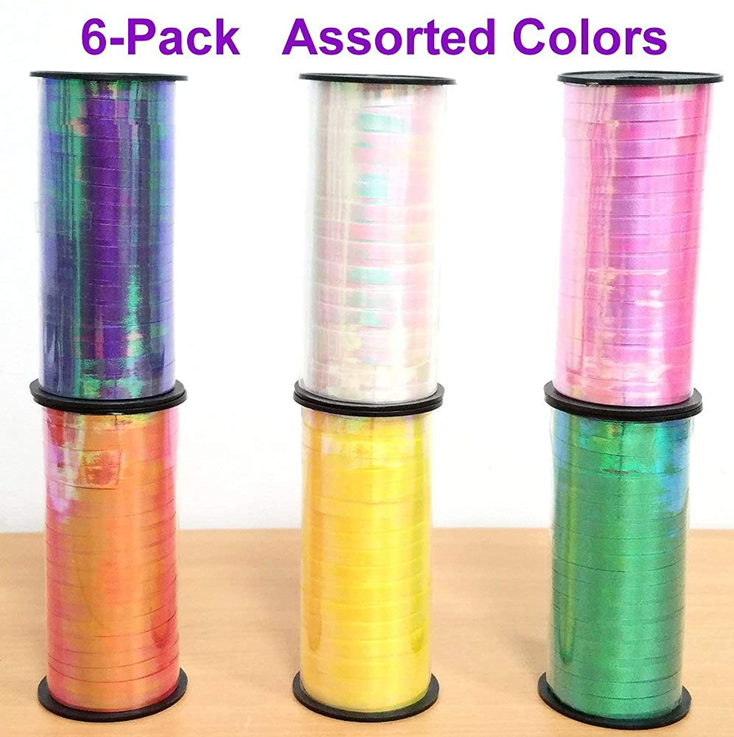 Iridescent Curling Ribbon 6-Pack, uncrimped, for Party Decoration, Wedding, Birthday, Craft, Flowers, Gift Wrapping. 100 Yard per roll in Assorted Colors - Colors May Vary