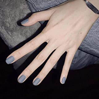 Poliphili 24Pcs Matte Short Square Pure Color Wear False Nails Press On Full Coverage Acrylic Fake Nails Tips (Grey)