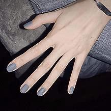 Poliphili 24Pcs Matte Short Square Pure Color Wear False Nails Press On Full Coverage Acrylic Fake Nails Tips (Grey Blue)