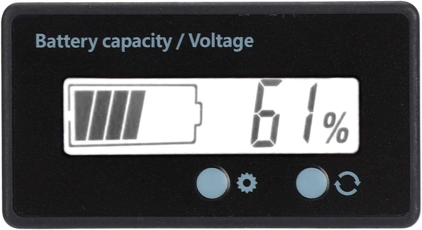 FEYV Voltmeter, Battery Capacity Indicator LCD Display Voltage Meter Double Button Design Easy to Set Up for Lithium Battery(White, Pisa Leaning Tower Type)