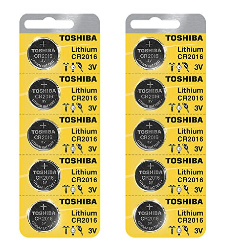 Toshiba CR2016 Battery 3V Lithium Coin Cell (10 Batteries)