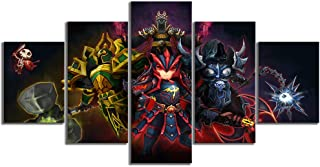 WSJXY 5 Canvas Paintings Wall Art Framed 5 Piece HD Cartoon Pictures Summoners War Sky Arena Card Game Poster Canvas Paintings Wall Art for Home Decor
