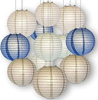 Quasimoon Paperlanternstore.com Winter Celebration Party Pack Parallel Ribbed Paper Lantern Combo Set (12 pc Set)
