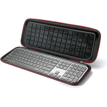 RAIACE Estuche rígido de Viaje para Logitech MX Keys Teclado Iluminado inalámbrico avanzado, Bolsa de Almacenamiento - Negro (Forro Negro)