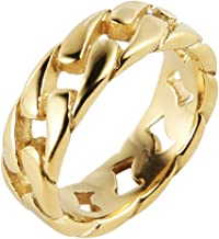 HZMAN Mens Stainless Steel 7mm Wide Band Cuban Link Chain Ring, Silver Gold Black