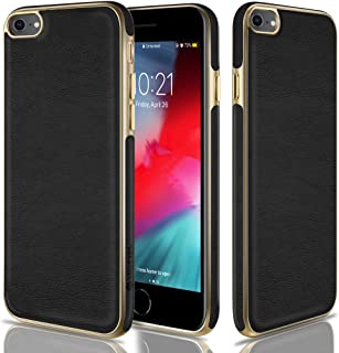 CellEver iPhone 8 Case, iPhone 7 Case Premium Leather Guard Slim Scratch-Resistant Anti-Slip Luxury Vegan Leather Cover for iPhone 7/8 (4.7 Inch) - Black/Gold