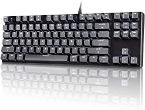 M87 Mac Layout Mechanical Keyboard, VELOCIFIRE 87-Key with Tactile Brown Switch, and LED White Backlit, 100% Compatible with Mac (Black)