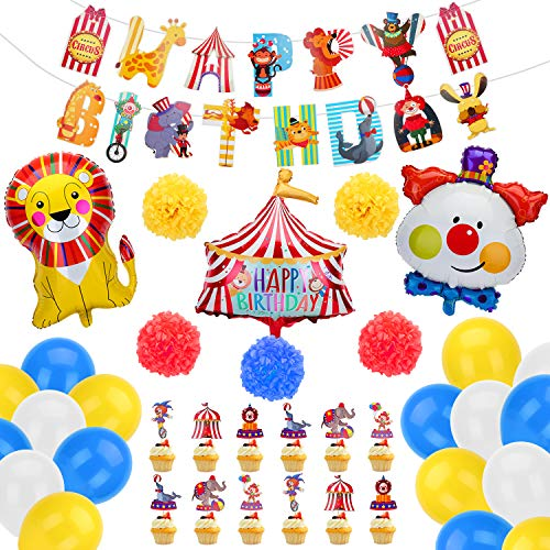 KATELUO Zirkus Luftballons, Kindergeburtstag Deko Ballon, Folienballon, Latexballons für Karneval Thema Geburtstag Baby Shower, 1. Geburtstag Junge Baby Party Deko Zubehör für Junge