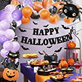 Halloween Party Decorations - Halloween Party Supplies - Ghost Spider Foil Balloons with Happy Halloween Banner Black Bats Kit for Adults Kids Birthday Party Home Outdoor Indoor Decor