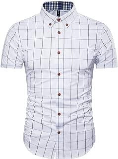 Mens Cotton Short Sleeve Shirt-Casual Short Sleeve Plaid Shirt
