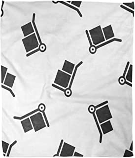 Suike Throw Blanket 60x80 Inches Luxury Flannel Truck Grey Hand and Boxes White Dolly Symbol Microfiber Print Soft Cozy Warm Wrinkle Resistant Couch Bed Throws Sofa