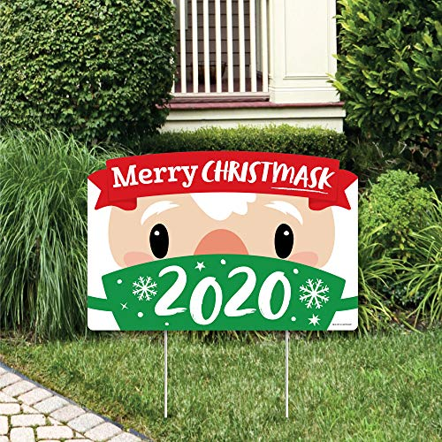 Big Dot of Happiness Merry Christmask - 2020 Quarantine Christmas Party Yard Sign Lawn Decorations - Party Yardy Sign