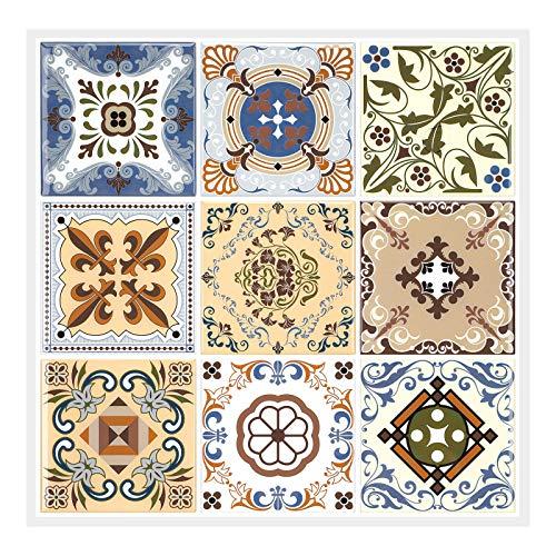 MORCART Adhesivos para azulejos de pared, diseño barroco, color marrón claro, 12 unidades, 30,5 x 30,5 cm