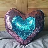 Mjia pillow Almohada de Felpa,Funda de Almohada de Lentejuelas Reversible de Dos ColoresFiesta de decoración para el hogar/sofá/Cama,E,35cm * 40cm