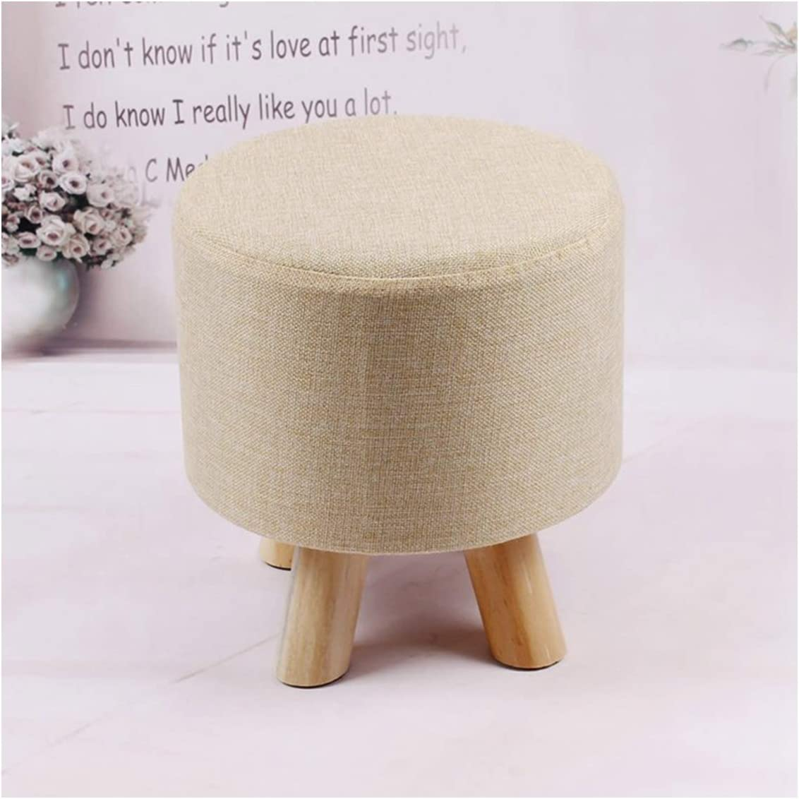 HODUXYME Round Ottoman Foot Stool Upholstered N NEW before sold out selling ☆ Padded with Pouf