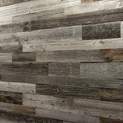Wandverkleidung aus Altholz Natürliches Vintage Holz Wandpaneele Wanddekoration Holzverkleidung Holzwand Wanddesign von Wooden Wall Design model Silver (1m2).