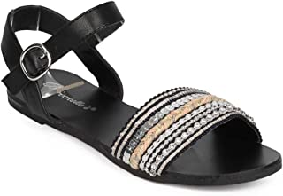 Women Fabric Open Toe Embellished Boho Ankle Strap Sandal ED62 - Black