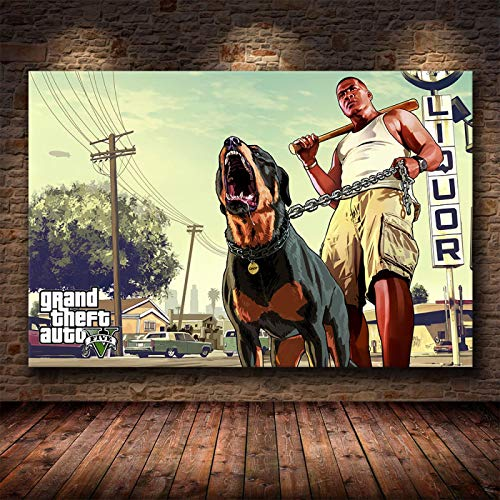 Yiwuyishi Clásico Grand Theft Auto V Game Art Póster de Pared GTA 5 Impresión de Pintura en Lienzo Sala de Estar Dormitorio Decoración para el hogar Mural 50x70cm P-343