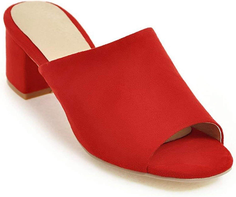 High Heels Women Slippers Toe Flock Summer shoes Ladies Solid color