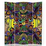 F FEEBY WALL DECOR Foto Biombo Elegante 4 Paneles Unilateral India SPA Amarillo 145x175 cm