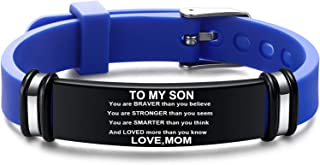 To My Son & Daughter Love Mon Bracelet, Mom and Son Bracelet, Personalized Engraved Bracelet Birthday Gift for Son and Dau...