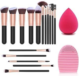 Pinceles de maquillaje 14 PCS Set de pinceles de maquillaje con esponja de maquillaje y limpiador de pinceles Pinceles sintéticos premium Face Powder Blush Eyeshadow Foundation