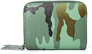 Camouflage Leather Card Holder Multi-Function Double Zipper Credit Card Holder RFID Anti-Theft Card Package ID Package (Color : Green, Size : S)