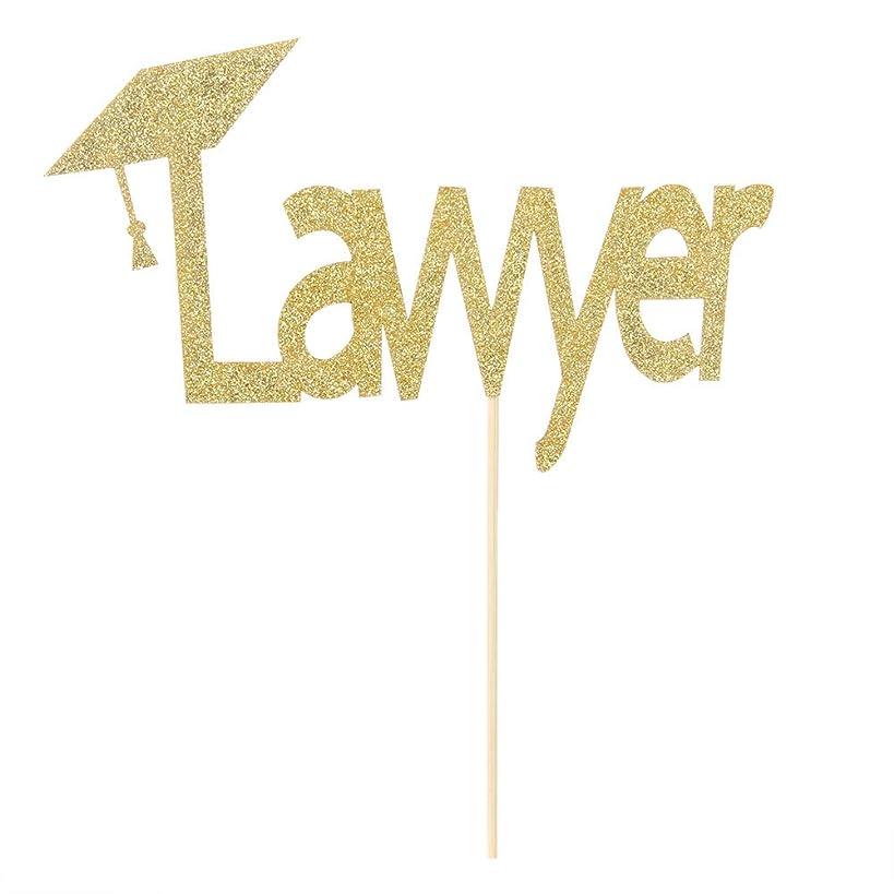 Gold Glitter Lawyer Cake Topper-2019 Graduation Congrats Grad Party Decorations Supplies-High School Graduation, College Graduate Cake Topper
