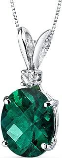 14 Karat White Gold Oval Shape 2.50 Carats Created Emerald Diamond Pendant