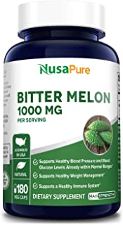 Bitter Melon Extract 1000mg 180 Veggie Caps (Non-GMO & Gluten Free) Supports Blood Pressure and Blood Sugar Already in The...