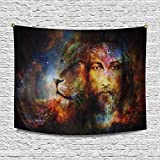InterestPrint Blessed Jesus with A Lion in Cosimc Space Cotton Linen Tapestry Wall Art Home Decor, Tapestries Wall Hanging Art Sets, 80W X 60L Inch