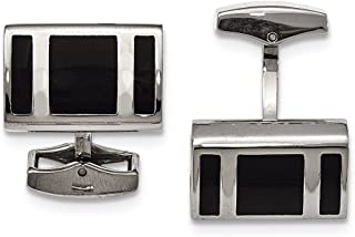 Lex & Lu Chisel Stainless Steel Black Rubber Rectangle Cuff Links LAL41262