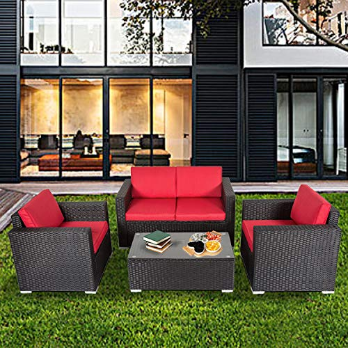 Kinsunny 4 PCs Outdoor Sectional Sofa Set Wicker Rattan Sofa Patio Furniture Wicker Rattan Couch with Glass Coffee Table All-Weather Washable Removable Cushions for Backyard Pool