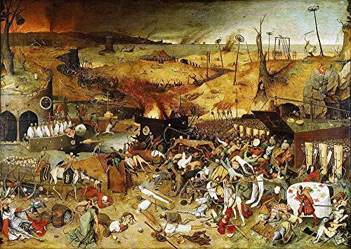 JH Lacrocon Pieter Bruegel el Viejo - El Triunfo Muerte Reproducción Cuadro sobre Lienzo Enrollado 120X80 cm - Pinturas Renacimiento Flamenco Impresións Decoración Muro