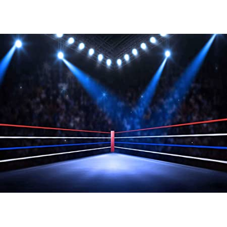 RBabyPhoto 10X7FT Boxing Ring Backdrop Main Event Square Stage Bokeh Glitter Projector Lamp Interior Gymnasium Sports Match Photography Background for Men Adults Activity Photo Studio Props Vinyl CK56