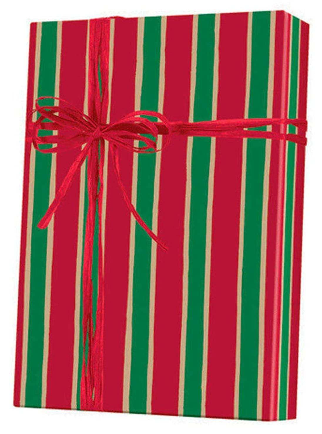 RED Green Kraft Christmas Stripe Holiday Gift Wrap Paper - 15 Foot Roll