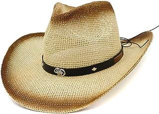 SHENTIANWEI Summer Straw Western Cowboy Hat Women's Outdoor Travel Sun Visor Beach Hat Spray Paint Cowgirl Straw Sun Hat