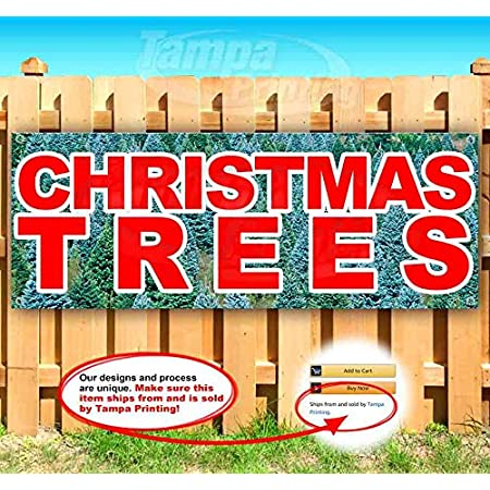 Flag Christmas Tree Farm Extra Large 13 Oz Heavy Duty Vinyl Banner Sign with Metal Grommets