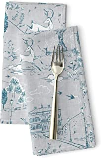 Toile Luxe Cotton Sateen Dinner Napkins Le PARC (Blue) Woodland Blue Gray Linen Texture Country French Deer Rabbit Nursery Unisex by Nouveau Bohemian Set of 2 Dinner Napkins
