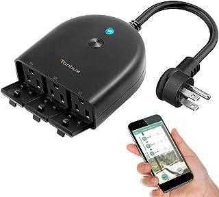 درگاه هوشمند هوشمند در فضای باز پلاگین WiFi هوشمند با 3 سوئیچ کنترل از راه دور جداگانه ضد آب و تایمر توسط برنامه زندگی هوشمند از طریق تلفن هوشمند TONBUX