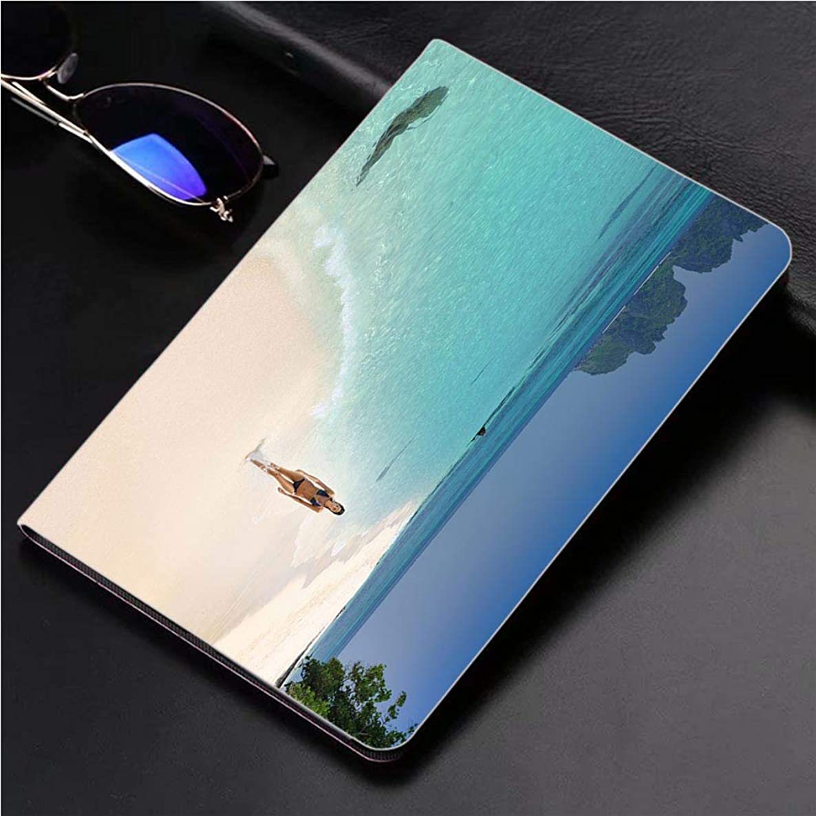 Compatible with 3D Printed iPad Pro 10.5 Case Woman Walking Down The Beach on a secluded Island 360 Degree Swivel Mount Cover for Automatic Sleep Wake up ipad case