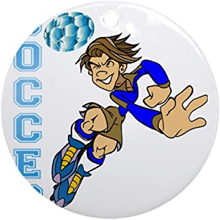 CafePress Soccer Player Round Holiday Christmas Ornament