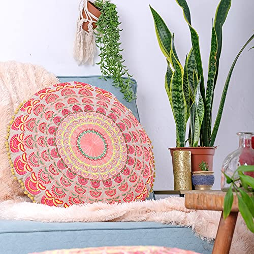 Mandala Life ART Bohemian Floor Cushion Cover –Luxury, Artisan Room Décor Pouf Case for Meditation, Yoga, and Boho Chic Seating Area Floor Pillow – Accent Your Living Room, Bedroom, More