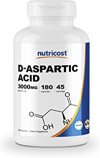 Nutricost D-Aspartic Acid (DAA) Capsules 3000mg Per Serving (180 Capsules) - Non-GMO