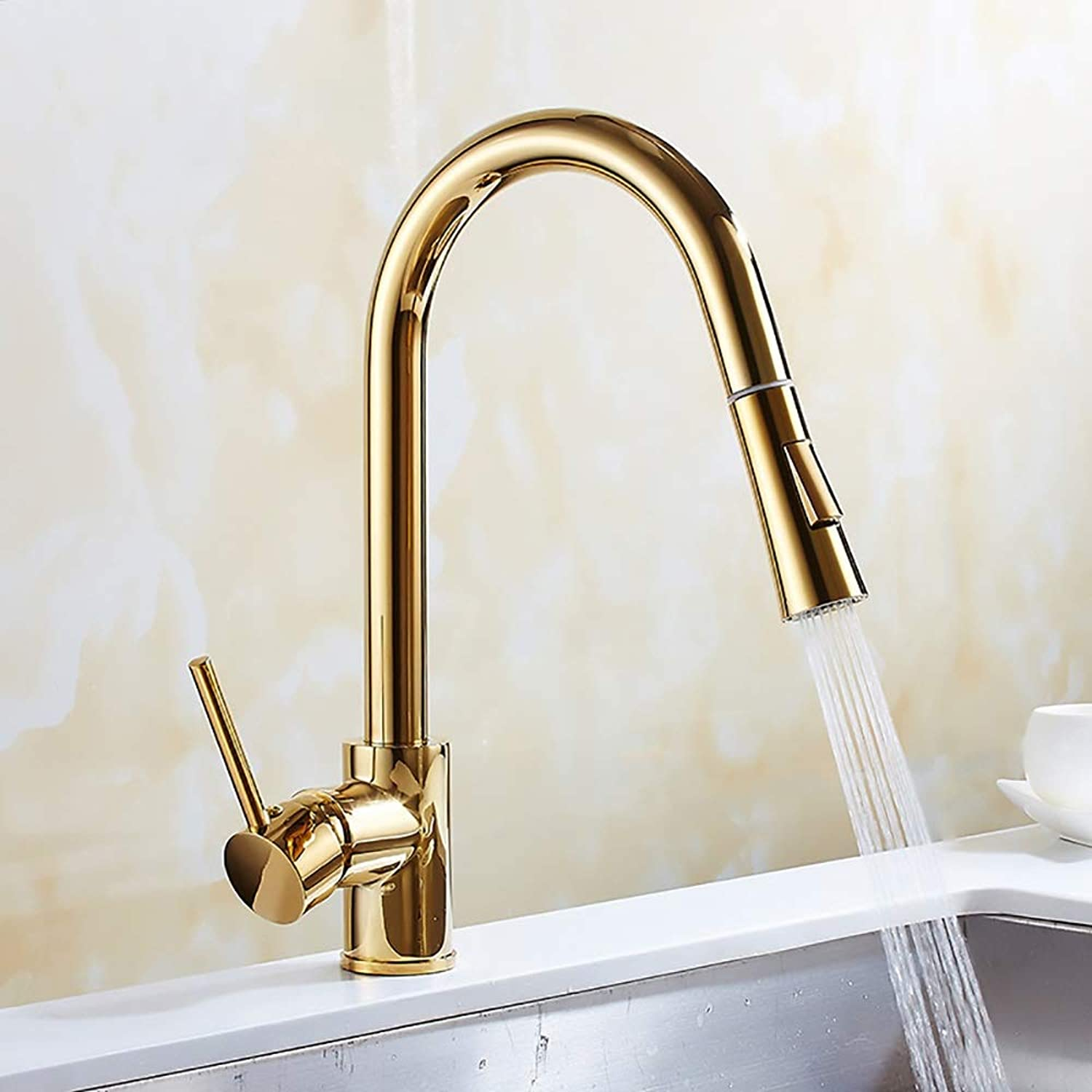 WWFF gold-plated Copper Pull Faucet redating Kitchen Faucet Sink Sink Adjustable Hot And Cold Faucet Durable